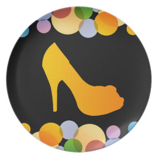 Shoe with colorful circles dinner plate