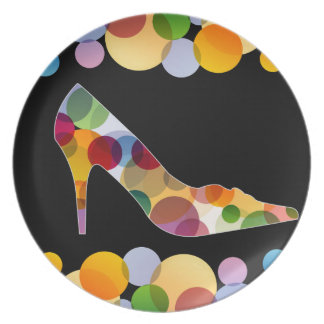 Shoe with colorful circles party plate