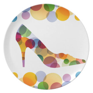 Shoe with colorful circles dinner plates