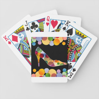 Shoe with colorful circles bicycle playing cards