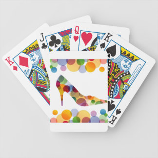 Shoe with colorful circles bicycle poker deck