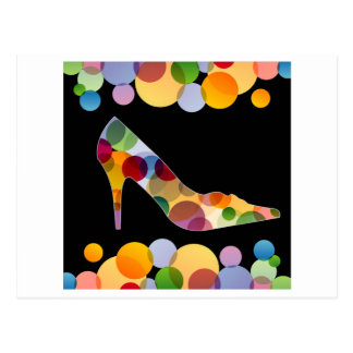 Shoe with colorful circles post cards