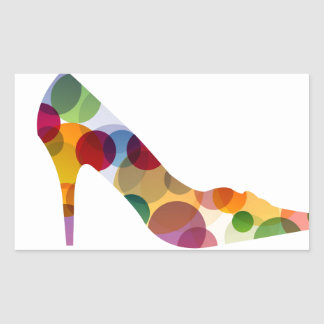 Shoe with colorful circles rectangular sticker