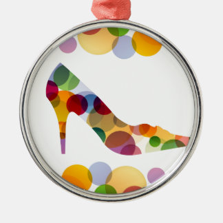 Shoe with colorful circles Silver-Colored round decoration
