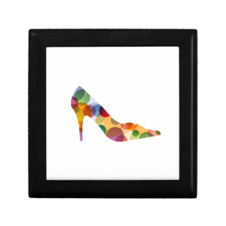 Shoe with colorful circles small square gift box