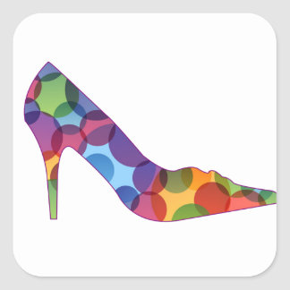 Shoe with colorful circles square sticker