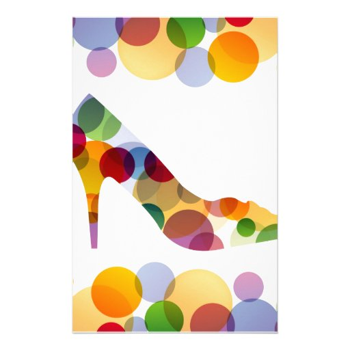 Shoe with colorful circles stationery design