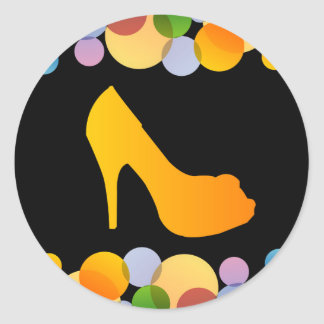 Shoe with colorful circles classic round sticker