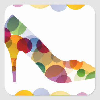 Shoe with colorful circles square stickers
