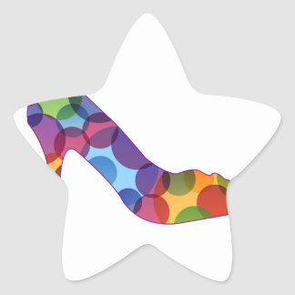 Shoe with colorful circles star sticker