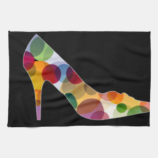 Shoe with colorful circles towels