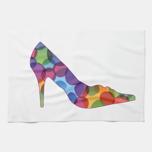 Shoe with colorful circles kitchen towels