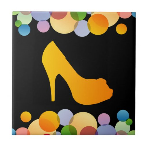 Shoe with colorful circles ceramic tiles