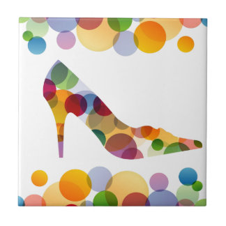 Shoe with colorful circles ceramic tile