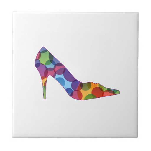 Shoe with colorful circles tile
