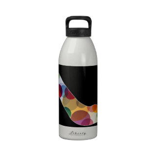 Shoe with colorful circles reusable water bottle