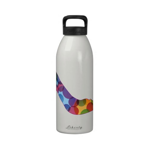 Shoe with colorful circles water bottle