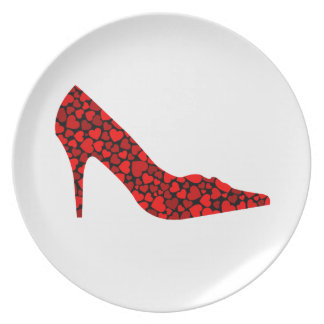 Shoe with hearts dinner plates