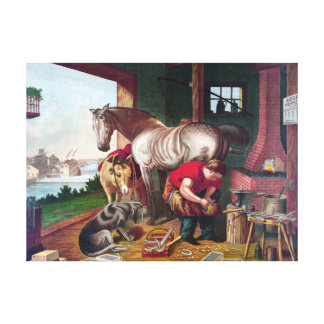 Shoeing the Horse Vintage Painting Stretched Canvas Prints