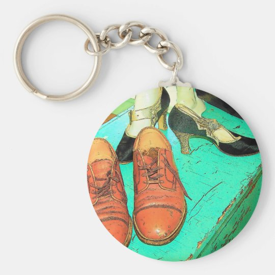 Shoes3 Basic Round Button Key Ring