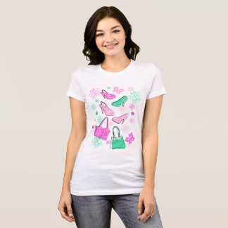 shoes-bags-flowers-butterflis (pink-mint) T-Shirt