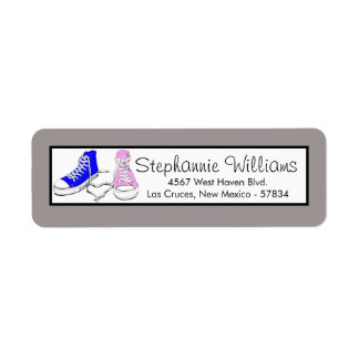 Shoes Blue/Pink Wedding Return Address Label