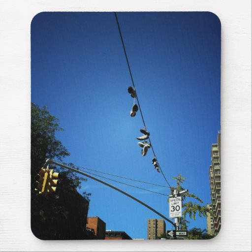 Shoes Hanging from a Power Line in Alphabet City Mouse Pad
