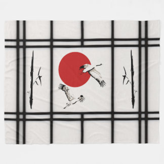 Shoji - crane fleece blanket