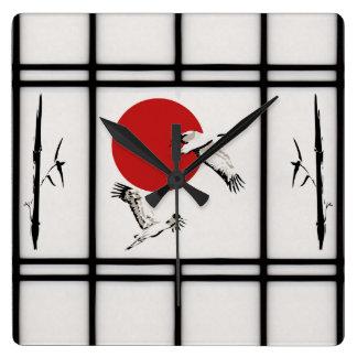 shoji - crane square wall clock