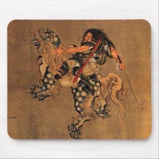 Shoki Riding A Shishi Lion Mouse Mat