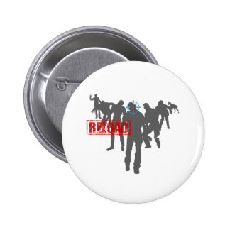 Shoot The Zombies - Shotgun Reload Game Gamer 6 Cm Round Badge