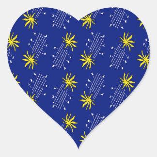 shooting flaming stars heart sticker