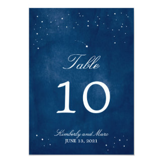 Shooting Star Blue Watercolor | Table Number 13 Cm X 18 Cm Invitation Card