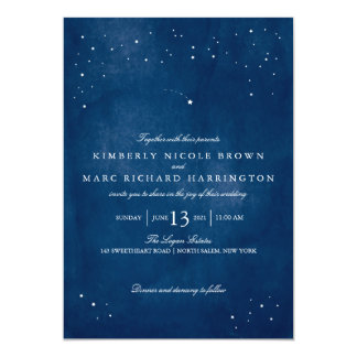 Shooting Star Blue Watercolor Wedding 13 Cm X 18 Cm Invitation Card
