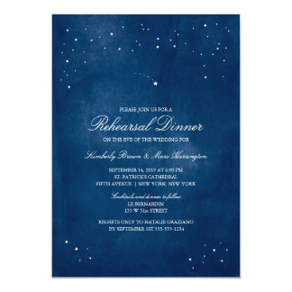 Shooting Star Blue Watercolor | Wedding Rehearsal 13 Cm X 18 Cm Invitation Card