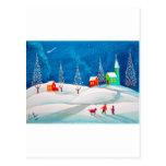 Shooting star folk naive art winter snow scene postcards
