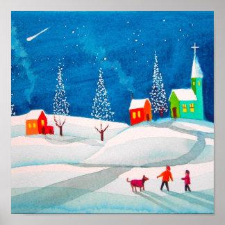Shooting star folk naive art winter snow scene poster