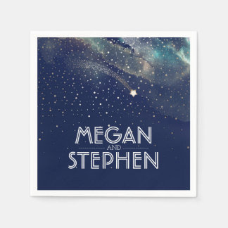 Shooting Star Navy and Gold Night Starry Paper Napkin