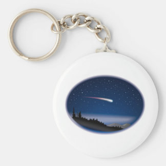 Shooting Star Over Night Landscape Basic Round Button Key Ring