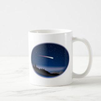 Shooting Star Over Night Landscape Basic White Mug
