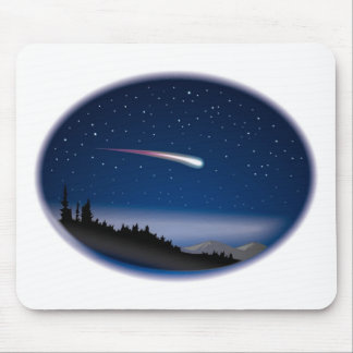 Shooting Star Over Night Landscape Mouse Mat