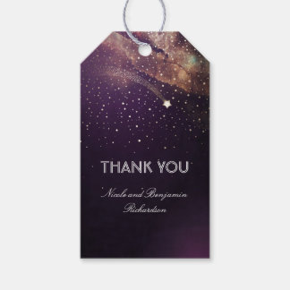 Shooting Star Plum Purple and Gold Night Wedding Gift Tags
