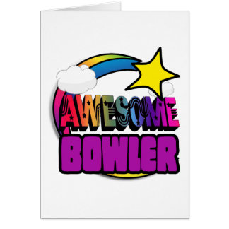 Shooting Star Rainbow Awesome Bowler Greeting Card