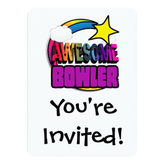 Shooting Star Rainbow Awesome Bowler 5.5x7.5 Paper Invitation Card
