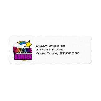 Shooting Star Rainbow Awesome Bowler Return Address Label