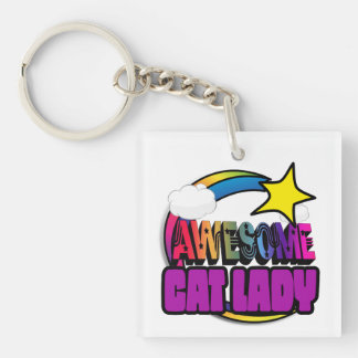 Shooting Star Rainbow Awesome Cat Lady Square Acrylic Keychains
