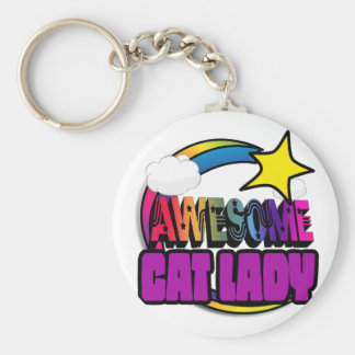 Shooting Star Rainbow Awesome Cat Lady Basic Round Button Key Ring