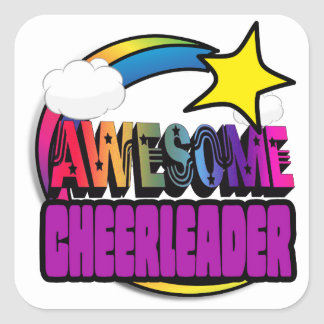 Shooting Star Rainbow Awesome Cheerleader Square Sticker