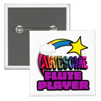 Shooting Star Rainbow Awesome Flute Player 15 Cm Square Badge