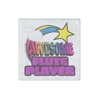 Shooting Star Rainbow Awesome Flute Player Stone Magnet
